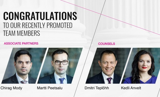 TGS Baltic promotes Chirag Mody and Martti Peetsalu to Associate Partners, Kedli Anvelt and Dmitri Teplõhh to Counsel